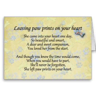 Pet sympathy card for pet loss leaving paw print